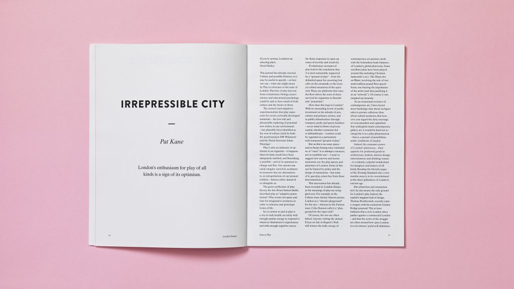 A text page spread from an issue of London Essays.