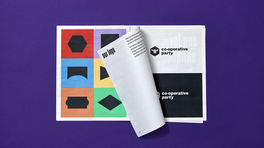 An inside spread of the Co-operative Party's brand guidelines.