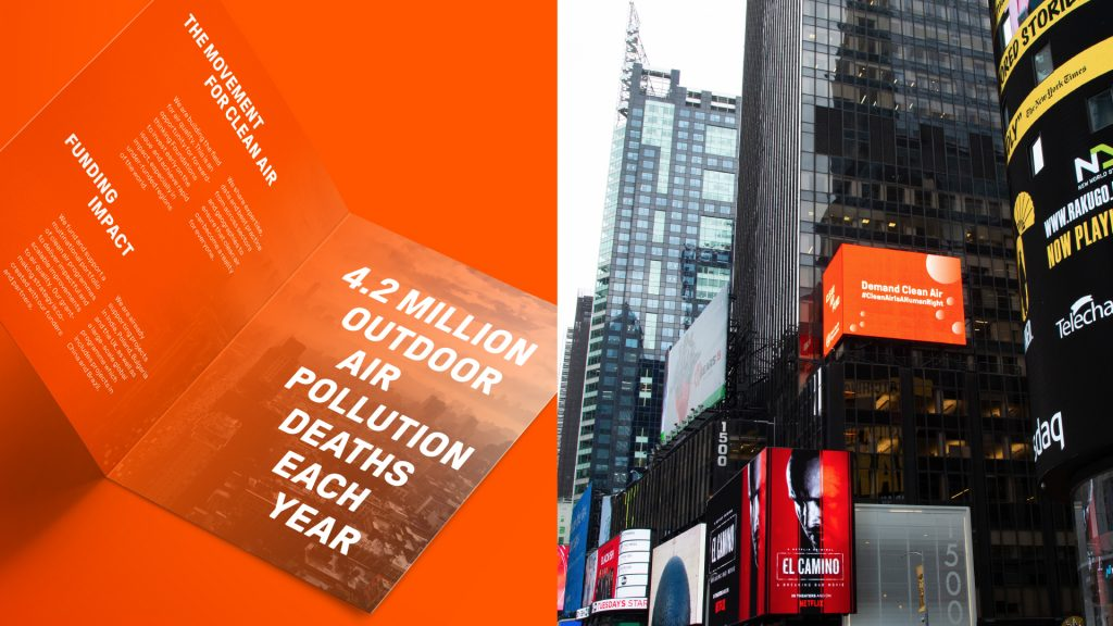 Two mock-ups, showing a possible inside spread for a publication using bold typography (left) and a billboard advertisement on the side of a building (right), both using Clean Air Fund branding.