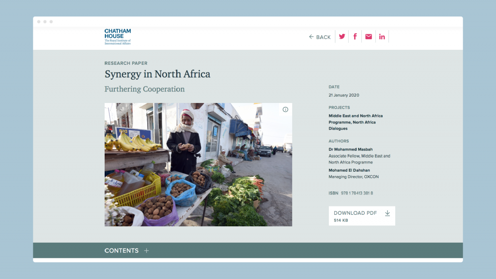 The opening page of a publication as seen in Chatham House's online Reader.