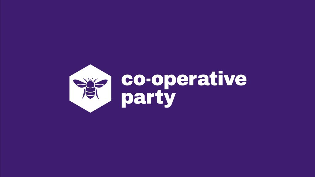 The Co-operative Party's logo, in white on a purple background.