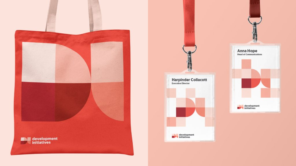 Brand example visuals of a tote bag and two lanyards with the red DI logo and square shapes.