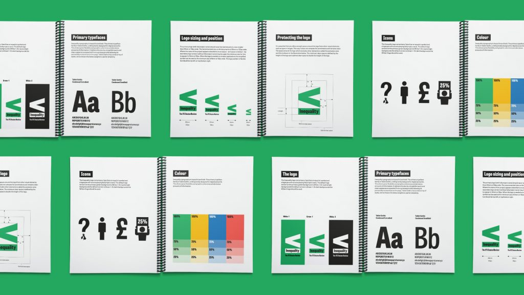A collage of pages from the brand identity guidelines.