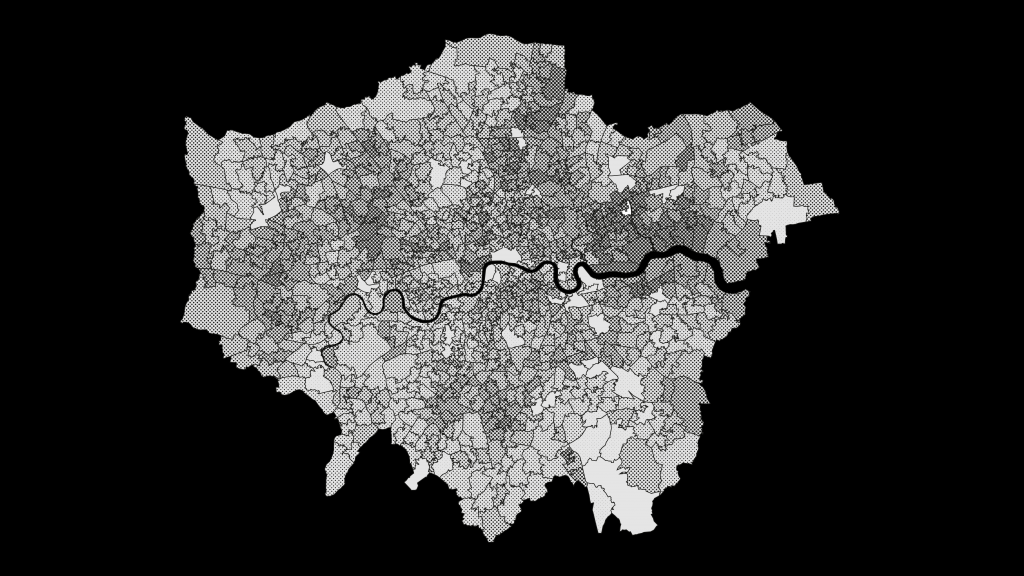 A black and white map of the Greater London area.