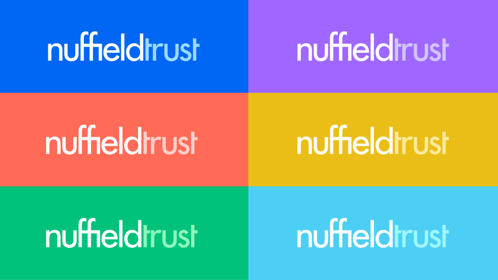 The Nuffield Trust logo repeated six times on (clockwise from top left) blue, purple, yellow, turquoise, green and red.
