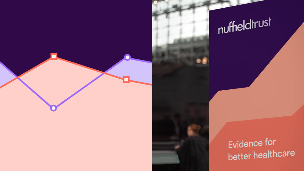 Examples of how colours work in the Nuffield Trust brand, on (left) a graph and (right) a banner.