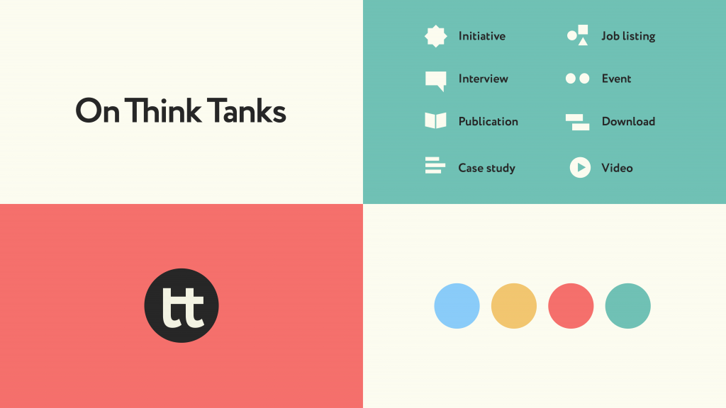 Four graphics showing (clockwise from top left): the On Think Tanks logo, icon and text illustrations of website elements, four dots in blue, yellow, red and green (from left), and an icon logo.