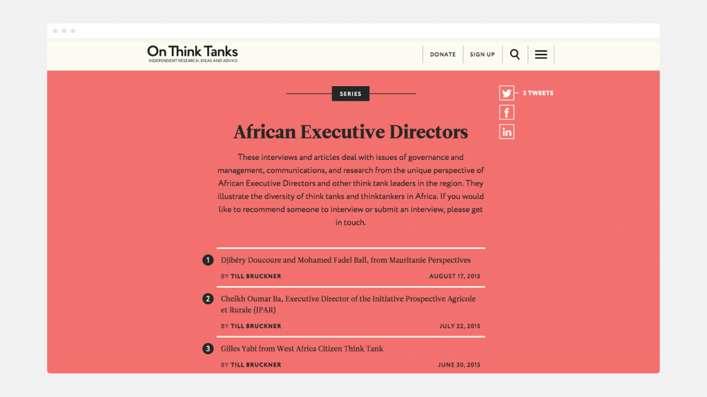 A sample web page from the On Think Tanks website, showing text on a red background.