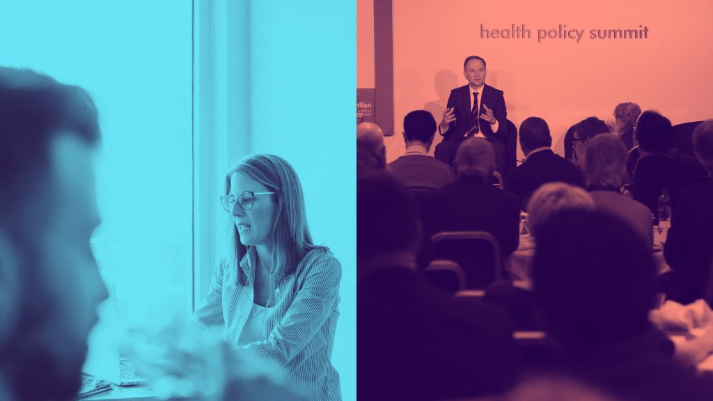 Two coloured photographs (left, in blue) two people in a meeting, and (right, in red) a person speaks at a health policy summit.