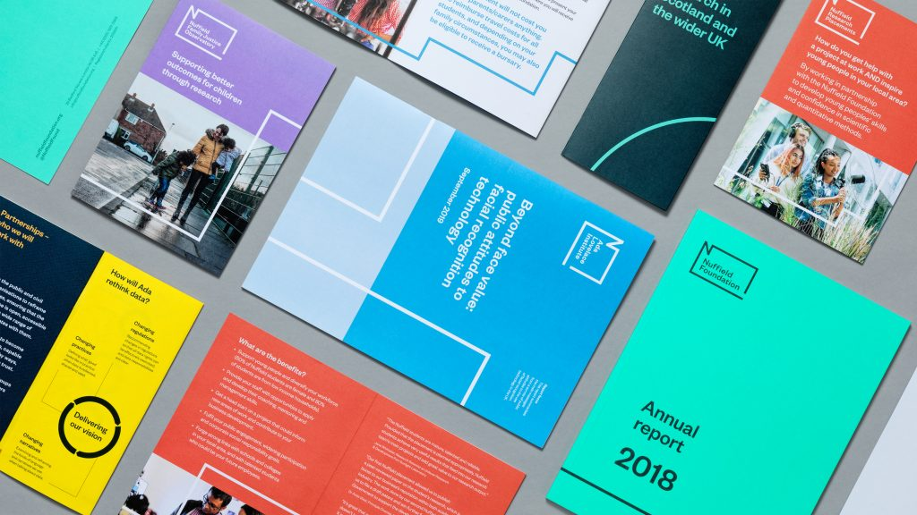 A collage of publications in the Nuffield Foundation brand.