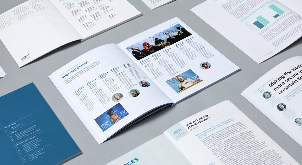 A collage of inside pages from a Chatham House publication.