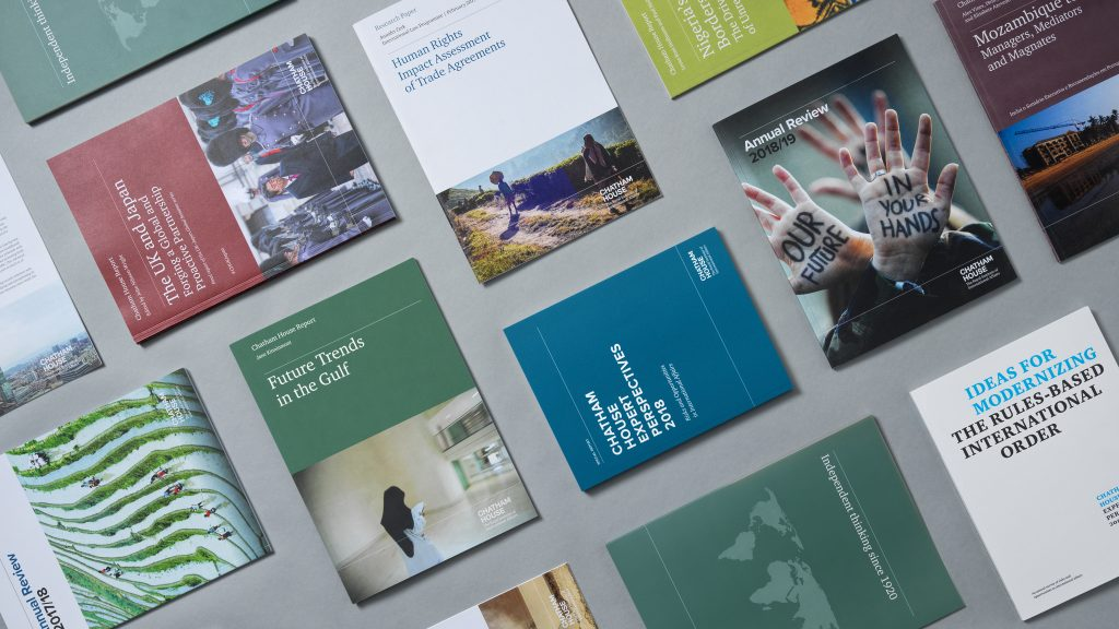 A collage of Chatham House publication covers.