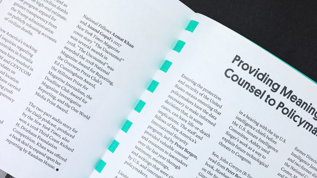 Close detail of a text page from the annual report.