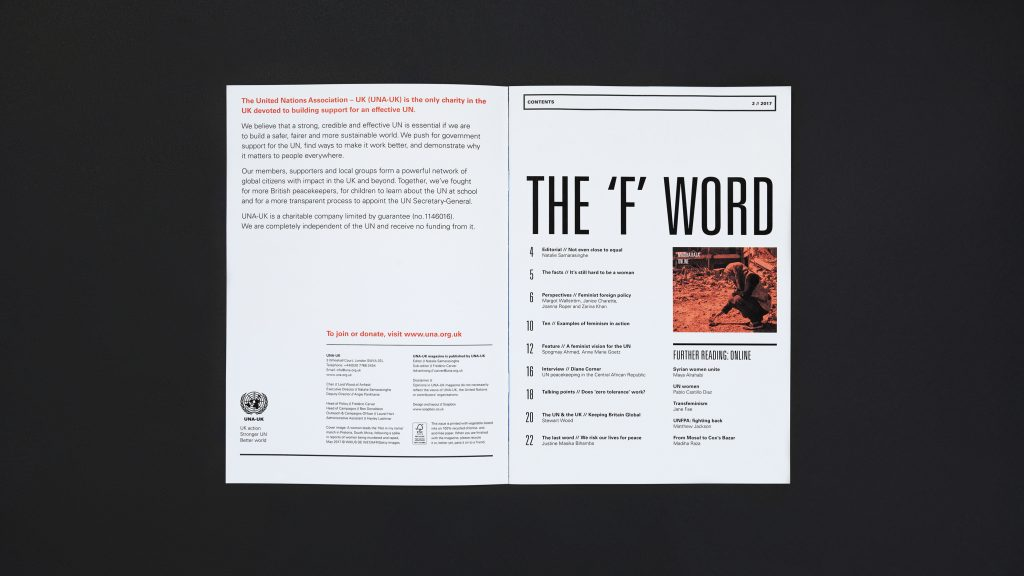 The inside cover and contents page spread from an issue of the magazine.