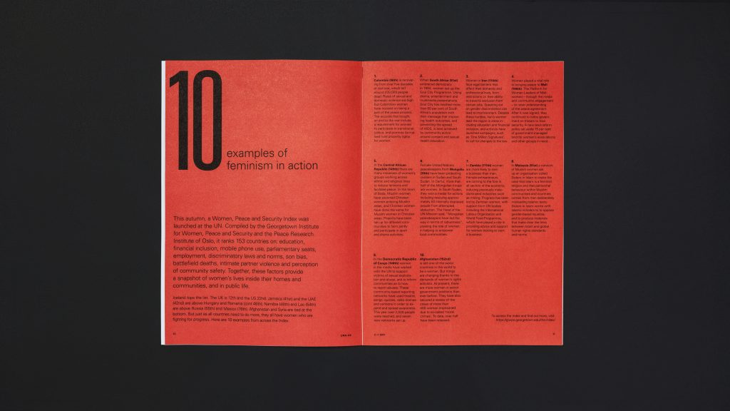 An inside page spread showing a bold list of text with a strong headline on a red background.