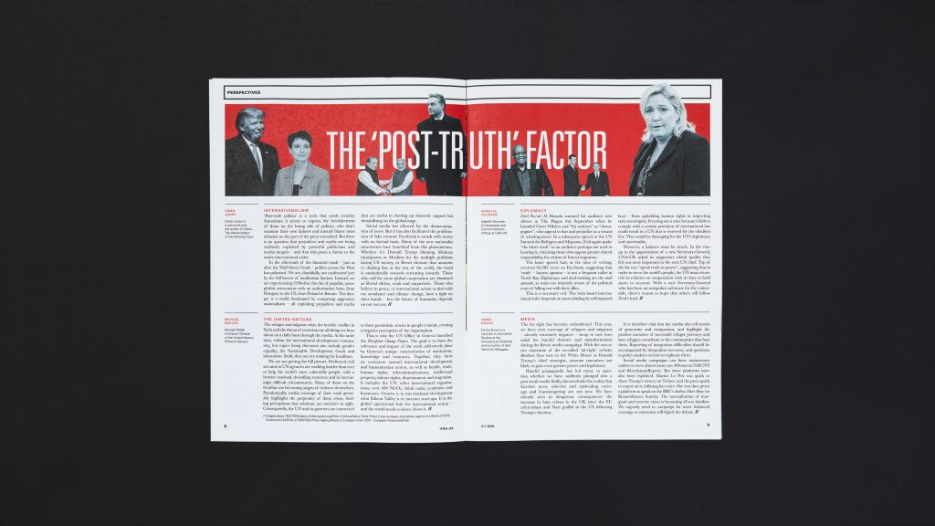 An inside page spread showing a bold headline and columns of text.