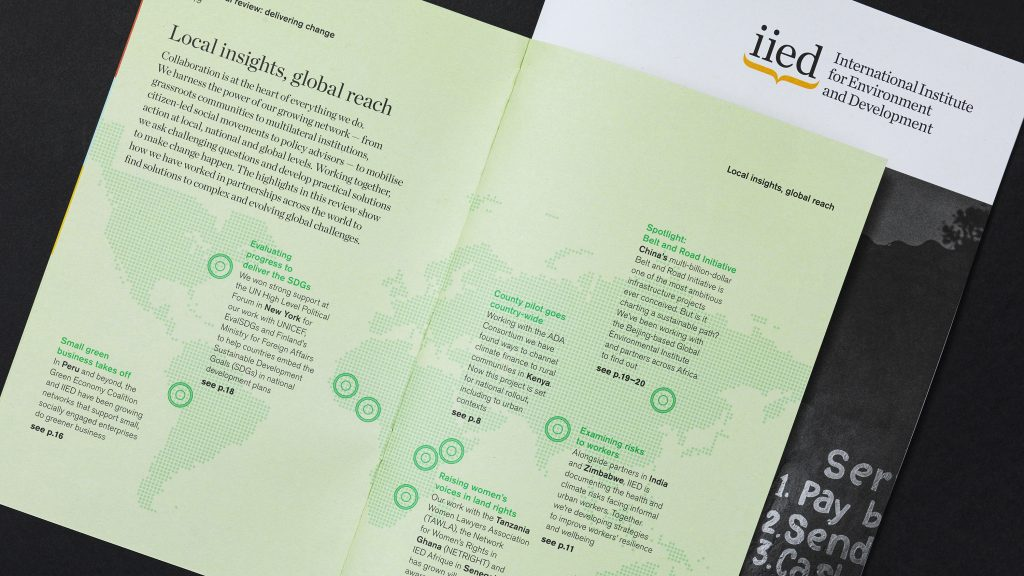 The report's open cover flap, showing a map and accompanying text.