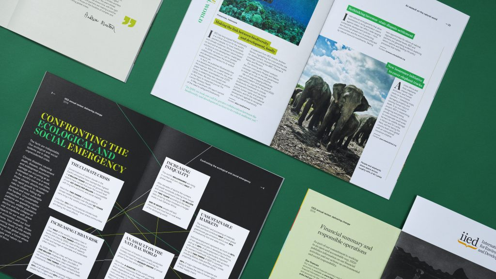 A selection of inside pages from the report, showing typographic and photographic details and the range of layouts used.