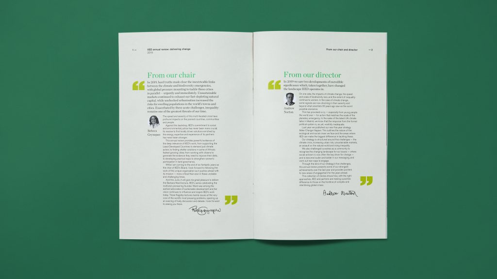 An inside page spread showing quote-style text from named authors.