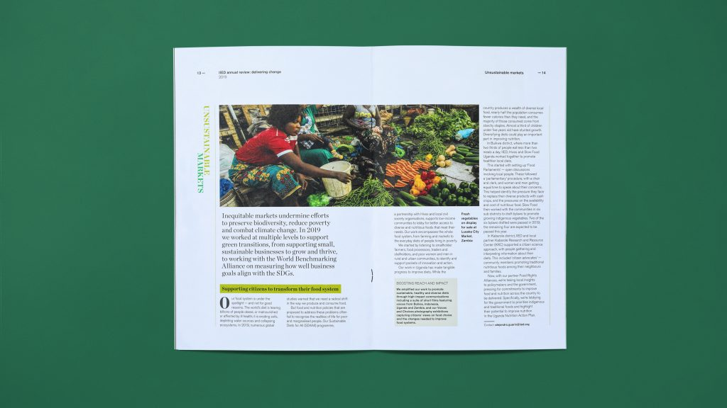 An inside page spread showing a photograph and columns of text.