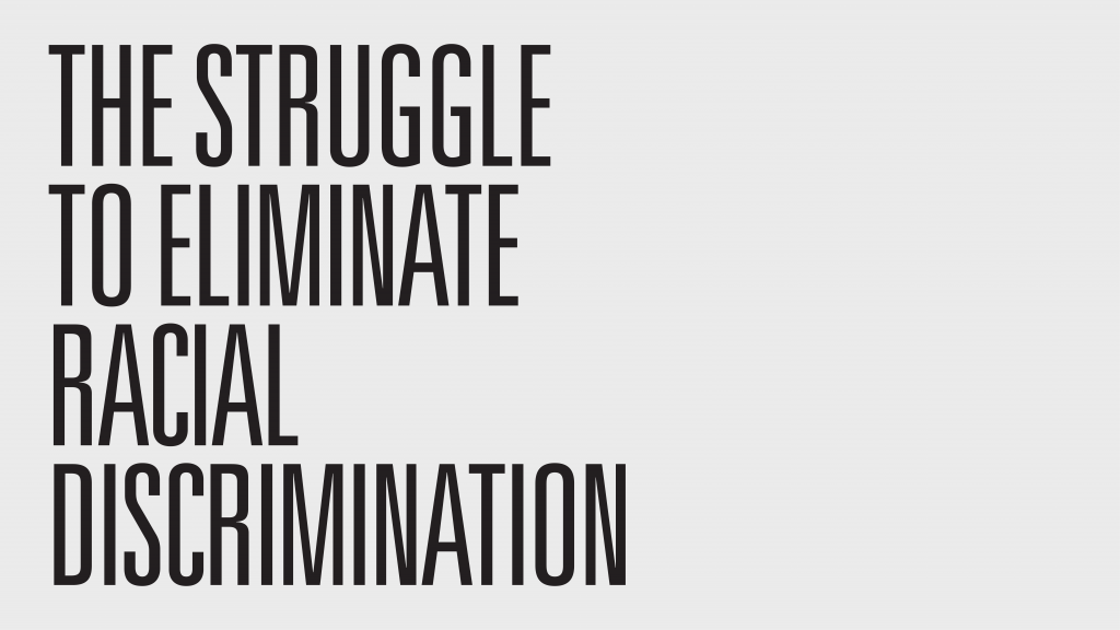 "Bold black text on a light grey background reading ""THE STRUGGLE TO ELIMINATE RACIAL DISCRIMINATION""."