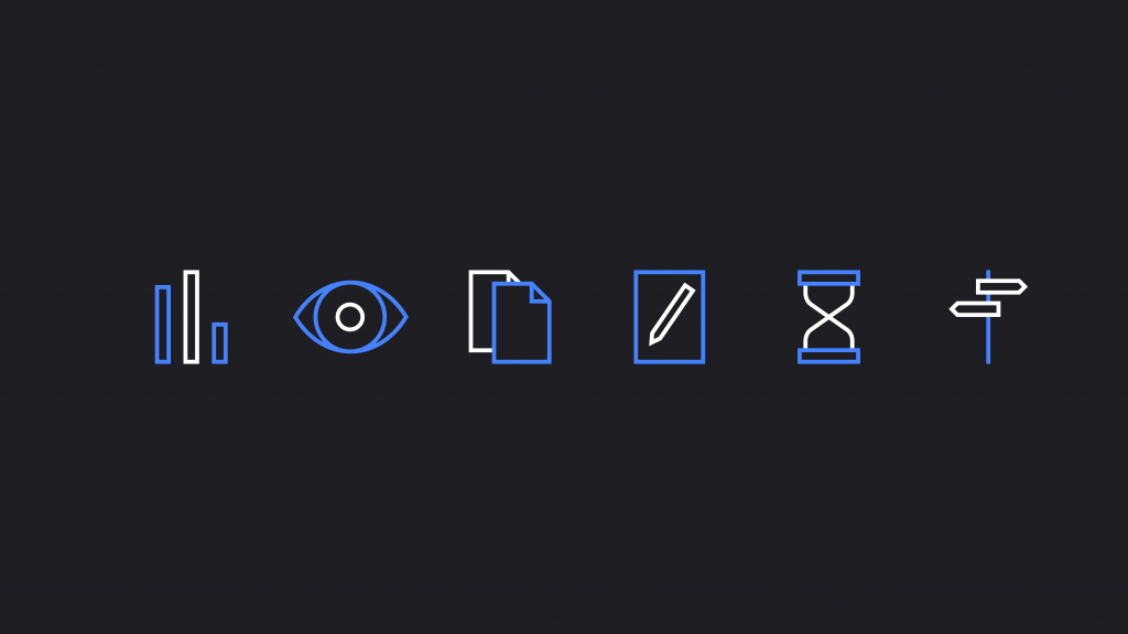 Six white and blue outline icons sitting in one row on a black background.