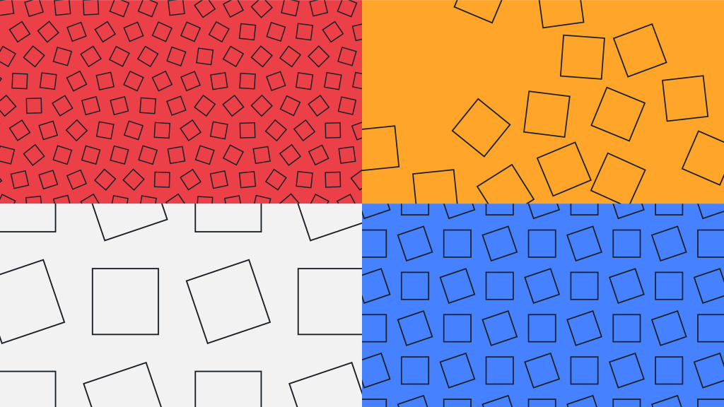 Pattern of rotating black outlined squares in various sizes on four different coloured backgrounds (clockwise from top left) – red, yellow, blue and light grey.