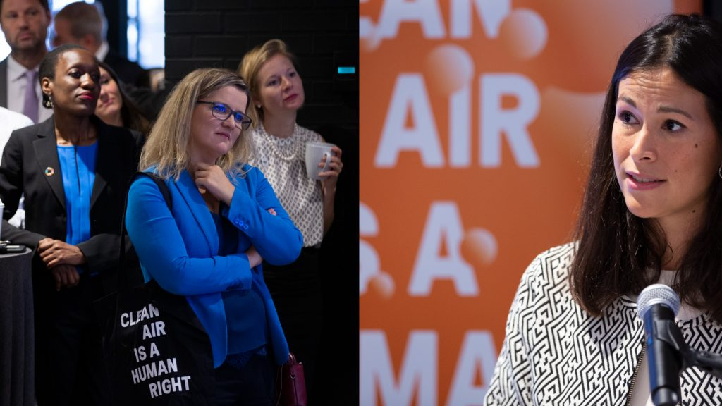 Two photographs, showing a group of people, one holding a Clean Air Fund tote bag (left) and a person giving a speech in front of a Clean Air Fund backdrop (right).