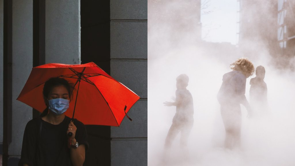 Two photographs, showing a person wearing a face mask (left) and children playing in a very smoky area (right).