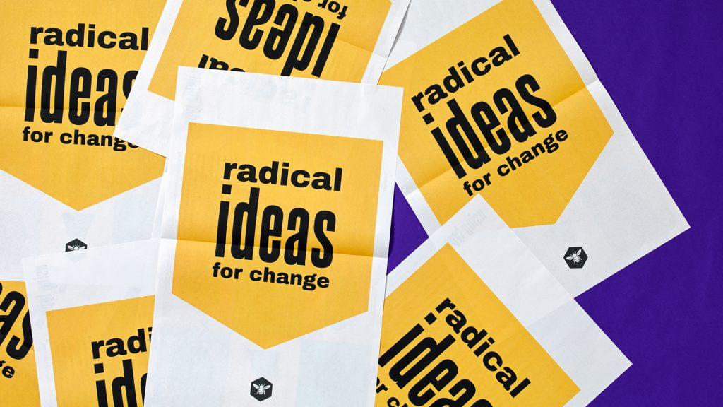 """A sample of posters reading """"radical ideas for change""""."""