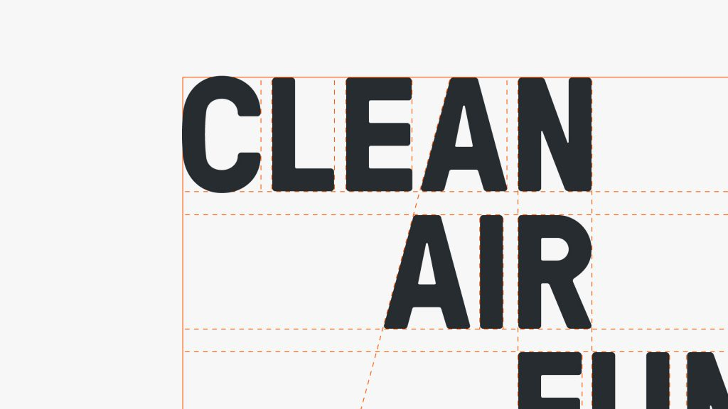 Part of the Clean Air fund logo, with lines showing the dimensions and detailed alignment of each letter.