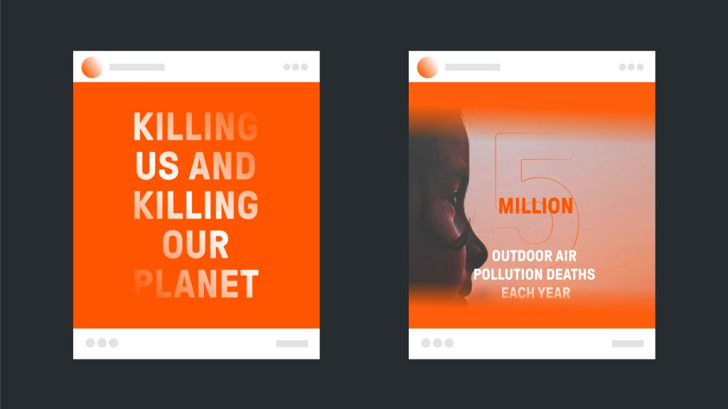 Mock-ups of two possible report covers using the Clean Air Fund branding, one with type (left) and one with type and an image (right).