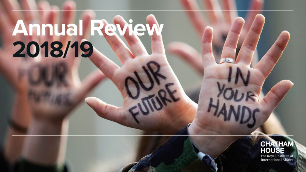 A snippet from the front cover of the 2018/19 Annual Review.