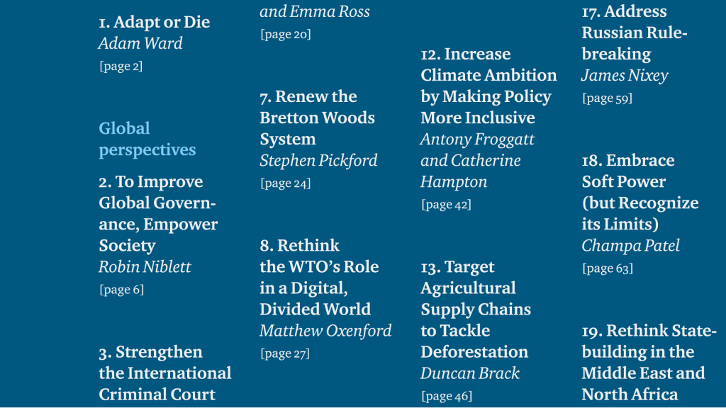 A snippet from a Chatham House publication's table of contents.