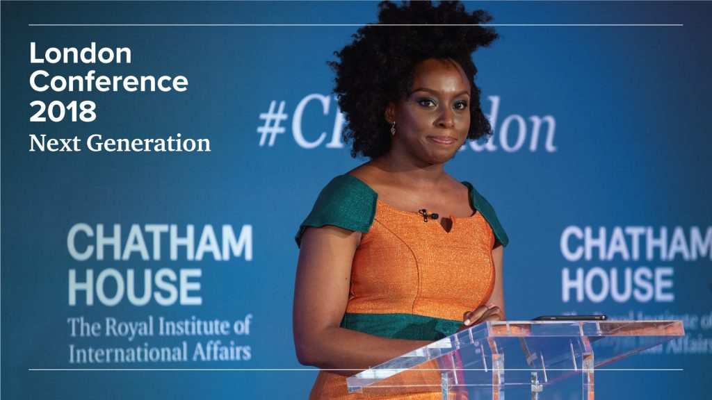 A photo of a speaker from the 2018 Chatham House London conference.