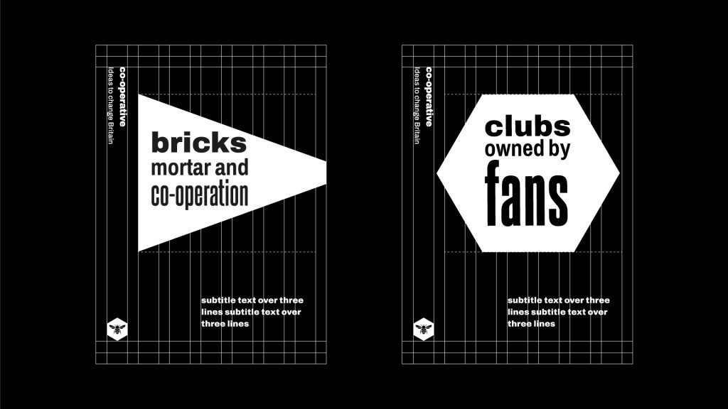 Two examples of publication covers and how the text elements are aligned.