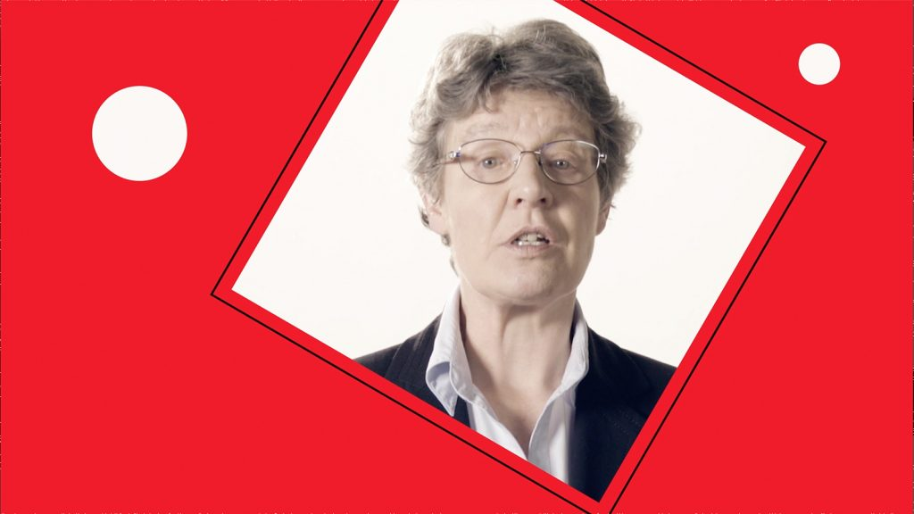 A photo of Jocelyn Bell Burnell in a rotated square on a red background.