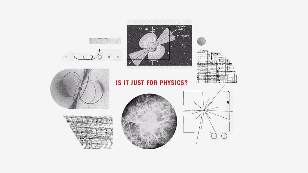 "Black and white physics diagrams surround the text ""IS IT JUST FOR PHYSICS?""."