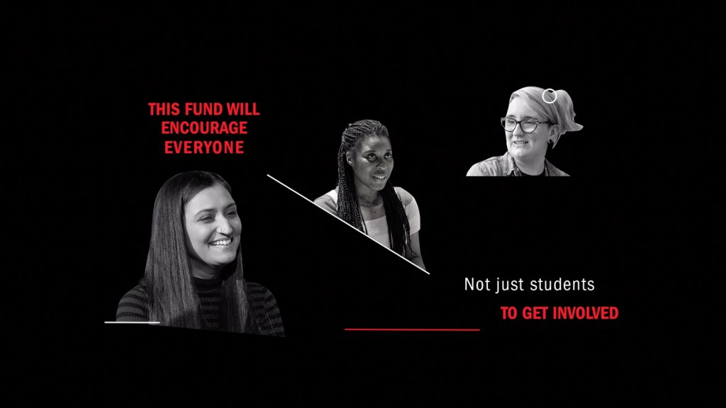 "The text ""This fund will encourage everyone. Not just students to get involved"" in red and white sits alongside three cut-out headshots of people."