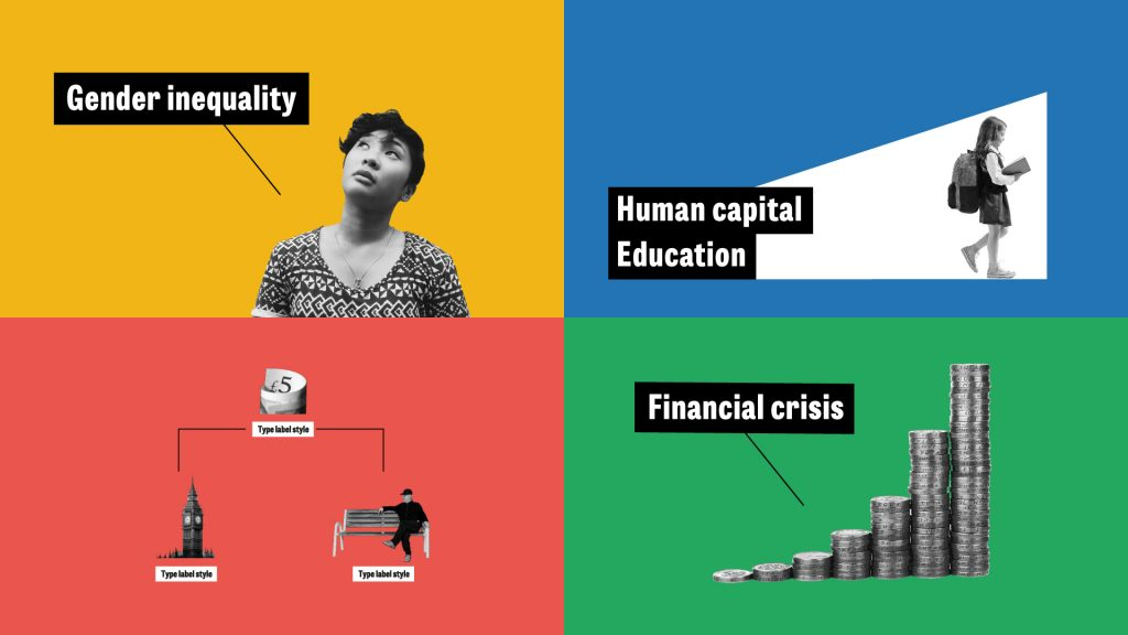 "Four images (clockwise from top left): a person with the text ""Gender inequality"", a young person with the text ""Human capital Education"", a stack of coins with the text ""Financial crisis"" and a tree diagram with three icons."