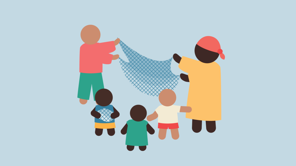 An illustration of a family using anti-mosquito nets.