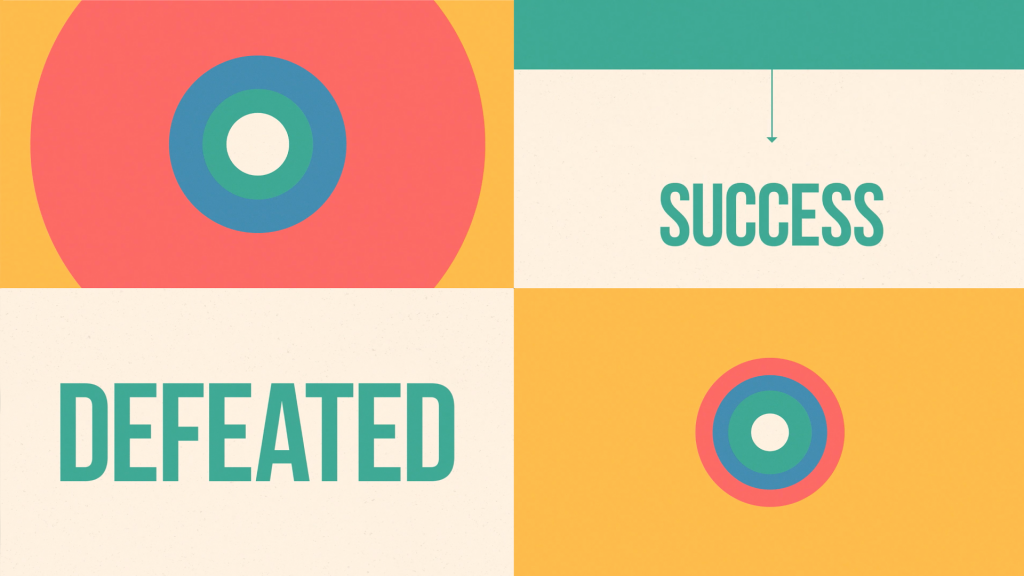 "A collage of text and circles, reading ""SUCCESS"" and ""DEFEATED""."