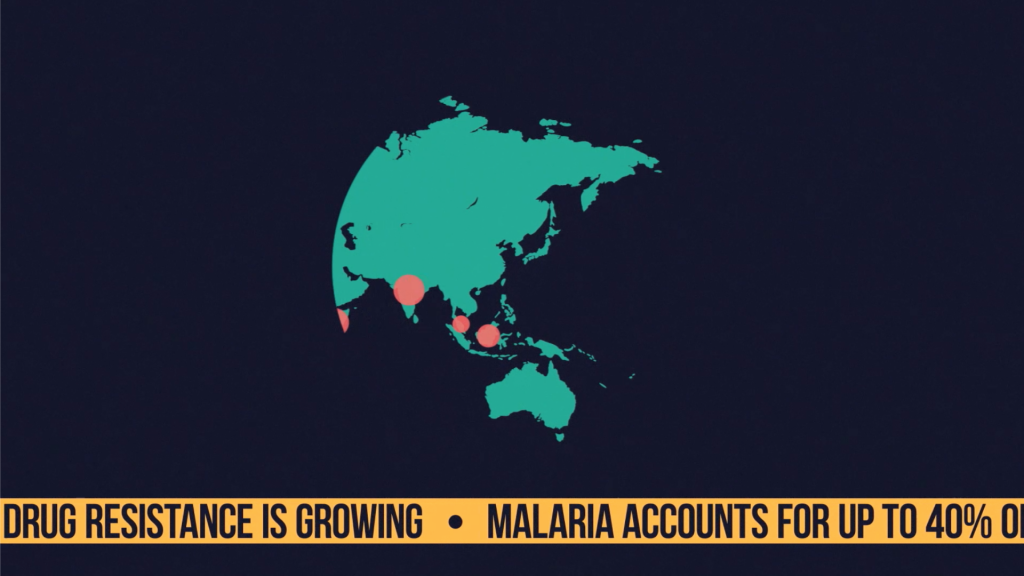 "A map showing some key areas for malaria. Text below the graphic reads ""DRUG RESISTANCE IS GROWING. MALARIA ACCOUNTS FOR UP TO 40%...""."
