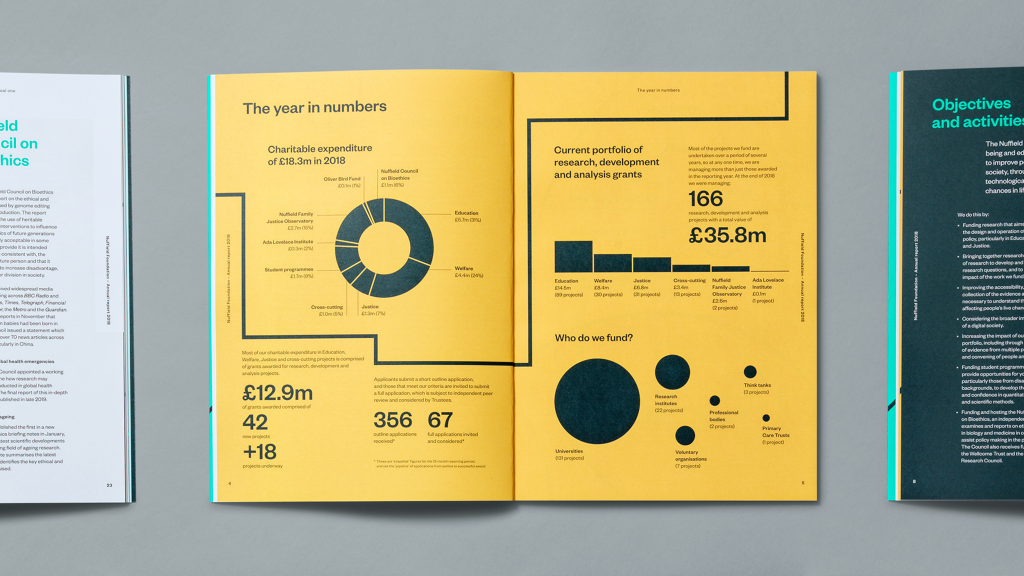 A collage of inside pages from Nuffield Foundation publications, focusing on an infographics page.