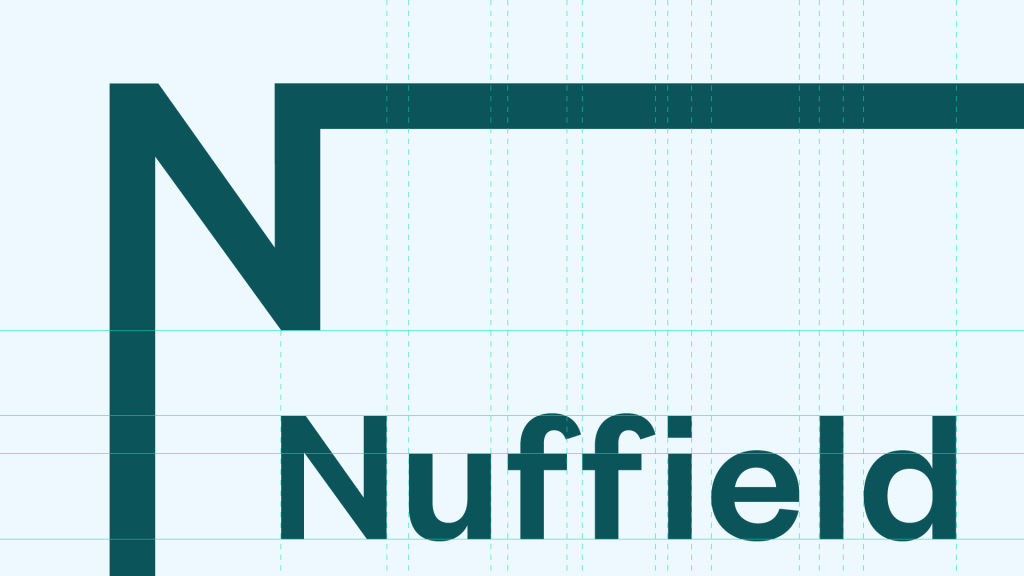 A close-up view of the Nuffield Foundation logo, showing the alignment of the text and frame elements.