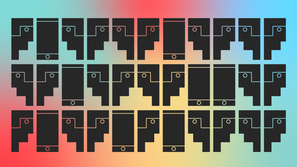Repeating black icons of visually similar speech bubbles, heads and smartphones on a colour gradient background.