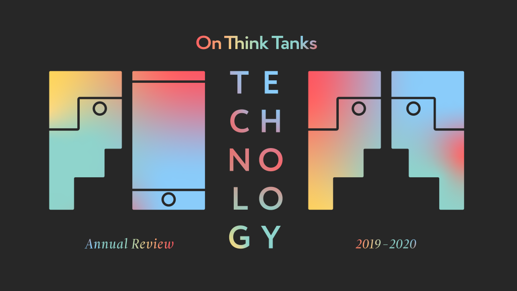 """A visually similar head and smartphone over the words """"Annual Review"""" (left) and two visually similar heads over the words """"2019-2020"""" (right), in a colour gradient over a black background. The two images are divided by the On Think Tanks logo and the word """"TECHNOLOGY""""."""