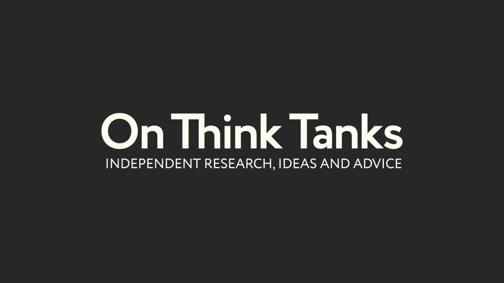 The On Think Tanks full logo in white on a black background.