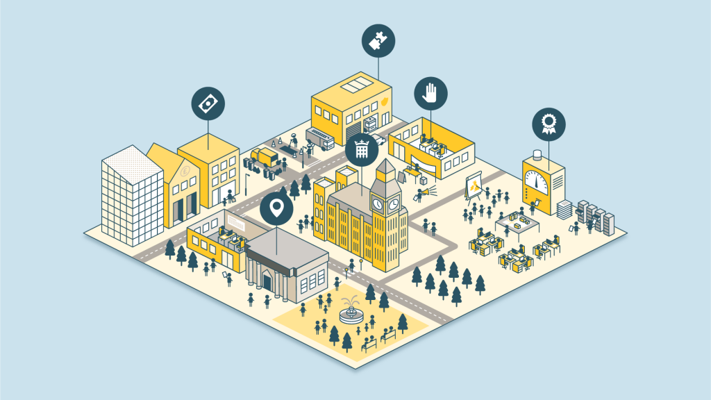 One level of the digital city, showing some of its interactive elements.