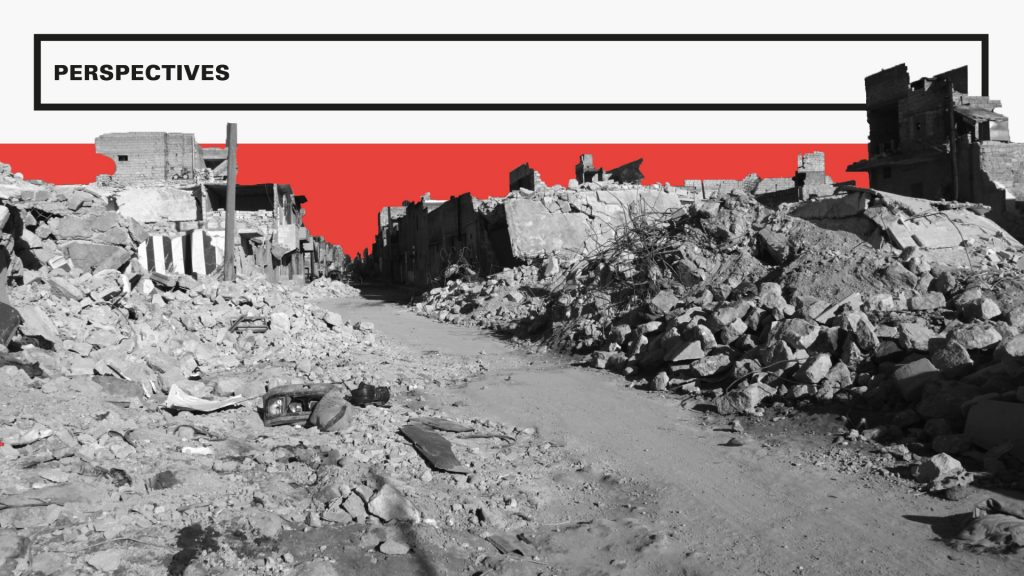 "A sample of design from the magazine: a black-and-white image of a bombed city, with red and black graphic elements and headline text reading ""PERSPECTIVES""."